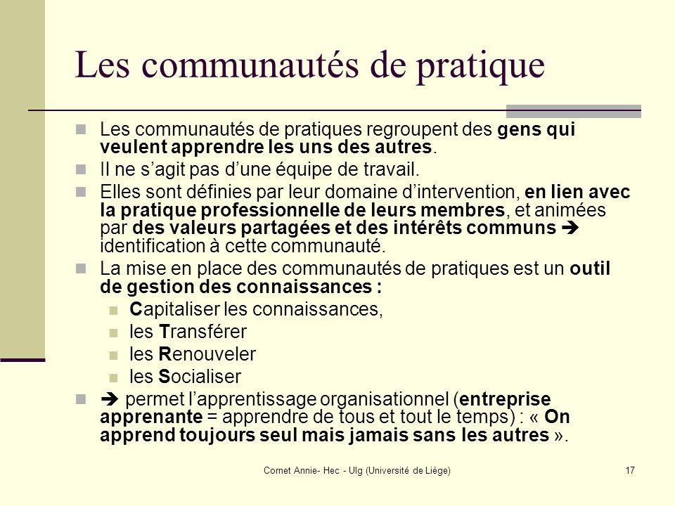 Cornet Annie- Hec - Ulg (Université de Liège)17 Les communautés de pratique Les communautés de pratiques regroupent des gens qui veulent apprendre les