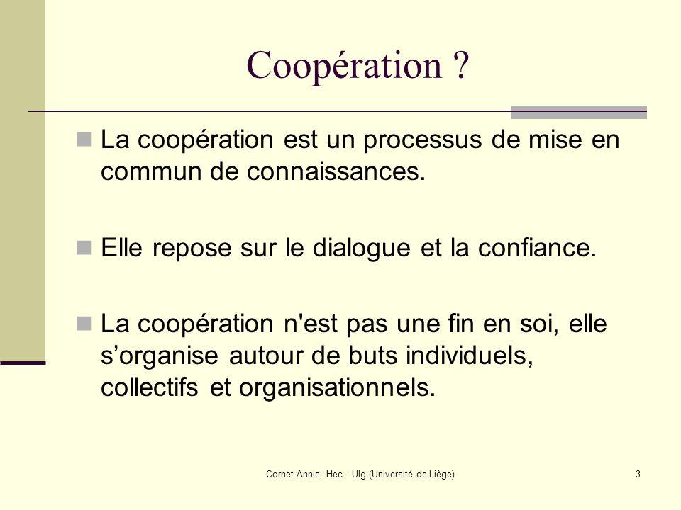 Cornet Annie- Hec - Ulg (Université de Liège)3 Coopération ? La coopération est un processus de mise en commun de connaissances. Elle repose sur le di