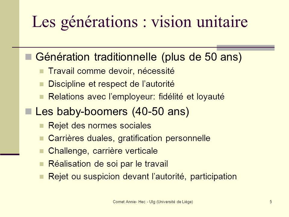 Cornet Annie- Hec - Ulg (Université de Liège)5 Les générations : vision unitaire Génération traditionnelle (plus de 50 ans) Travail comme devoir, néce