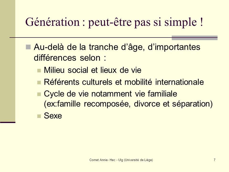 Cornet Annie- Hec - Ulg (Université de Liège)7 Génération : peut-être pas si simple ! Au-delà de la tranche dâge, dimportantes différences selon : Mil