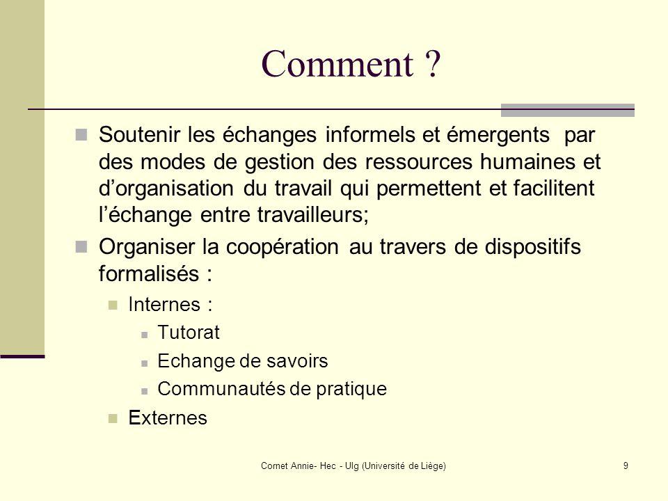Cornet Annie- Hec - Ulg (Université de Liège)9 Comment ? Soutenir les échanges informels et émergents par des modes de gestion des ressources humaines