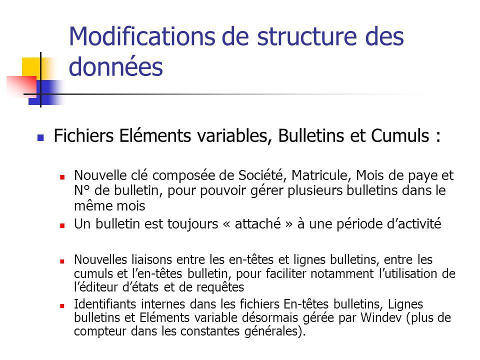 Modifications de structure des données Fichiers Eléments variables, Bulletins et Cumuls : Nouvelle clé composée de Société, Matricule, Mois de paye et
