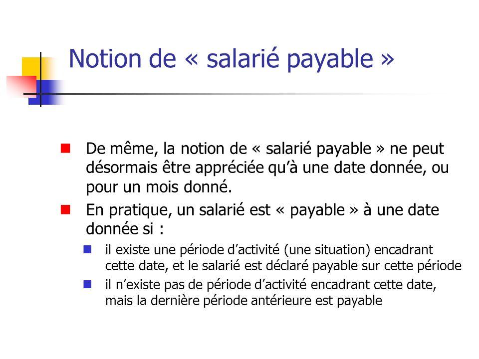 Notion de « salarié payable » De même, la notion de « salarié payable » ne peut désormais être appréciée quà une date donnée, ou pour un mois donné. E