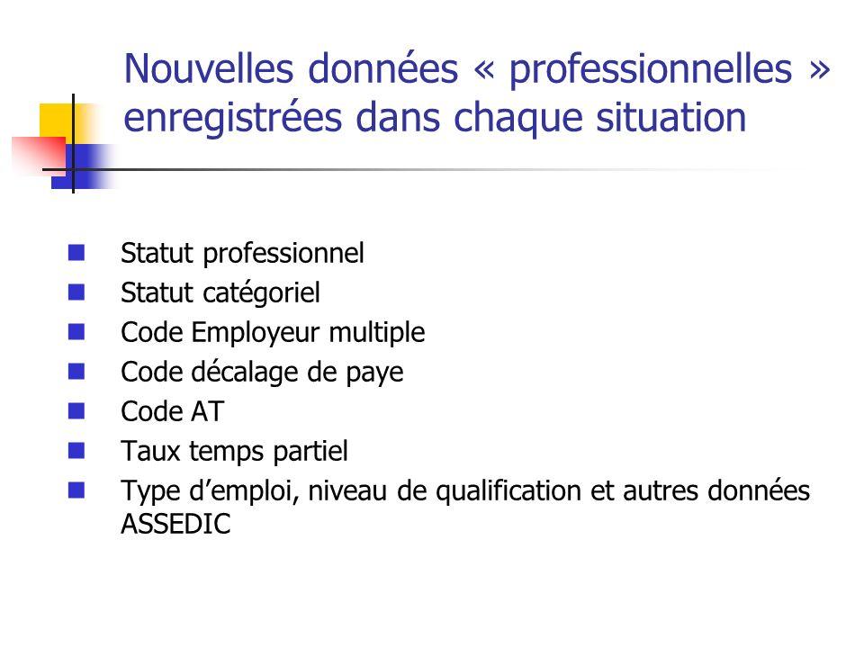 Nouvelles données « professionnelles » enregistrées dans chaque situation Statut professionnel Statut catégoriel Code Employeur multiple Code décalage