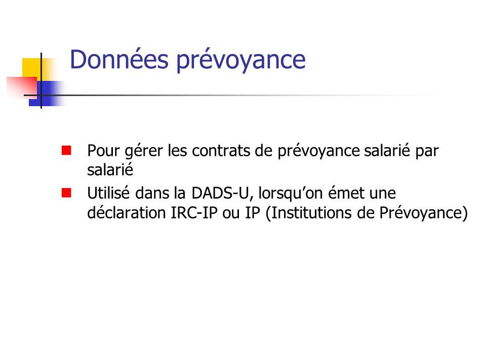 Données prévoyance Pour gérer les contrats de prévoyance salarié par salarié Utilisé dans la DADS-U, lorsquon émet une déclaration IRC-IP ou IP (Insti