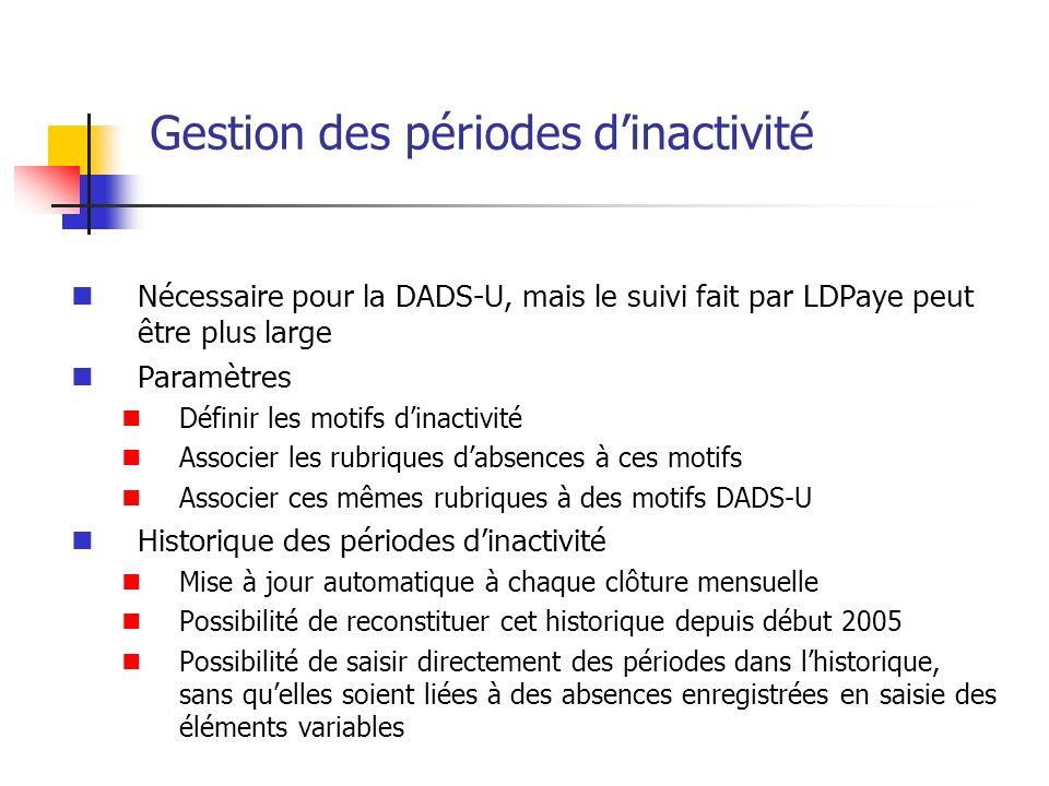 Gestion des périodes dinactivité Nécessaire pour la DADS-U, mais le suivi fait par LDPaye peut être plus large Paramètres Définir les motifs dinactivi
