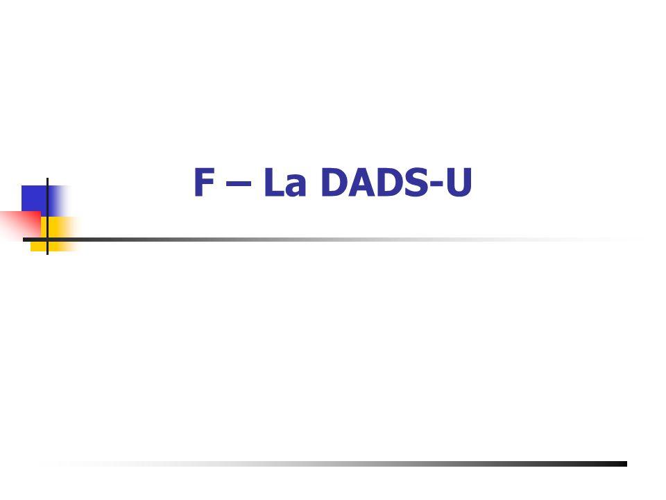 F – La DADS-U Présentation du 19 Mai 2003 à Bourg de Péage