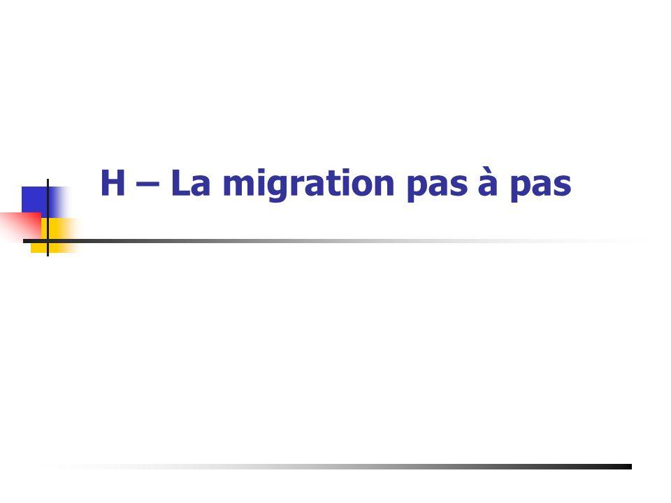 H – La migration pas à pas Présentation du 19 Mai 2003 à Bourg de Péage