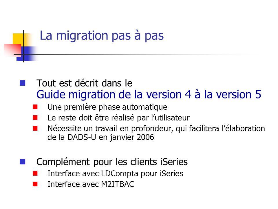 La migration pas à pas Tout est décrit dans le Guide migration de la version 4 à la version 5 Une première phase automatique Le reste doit être réalis