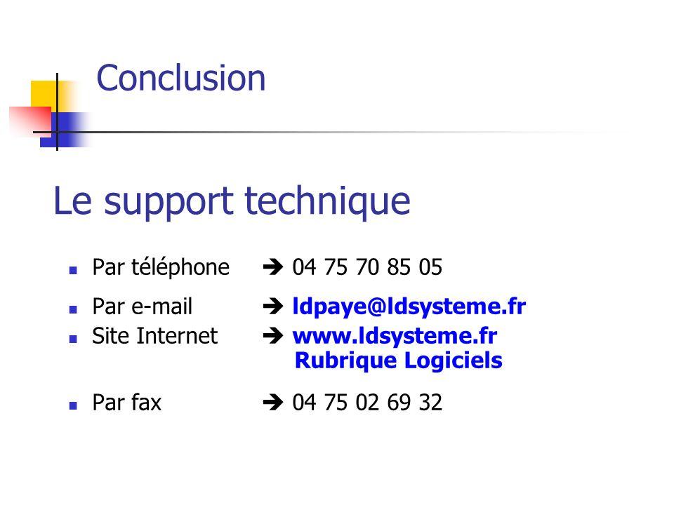 Conclusion Par téléphone 04 75 70 85 05 Par e-mail ldpaye@ldsysteme.fr Site Internet www.ldsysteme.fr Rubrique Logiciels Par fax 04 75 02 69 32 Le sup