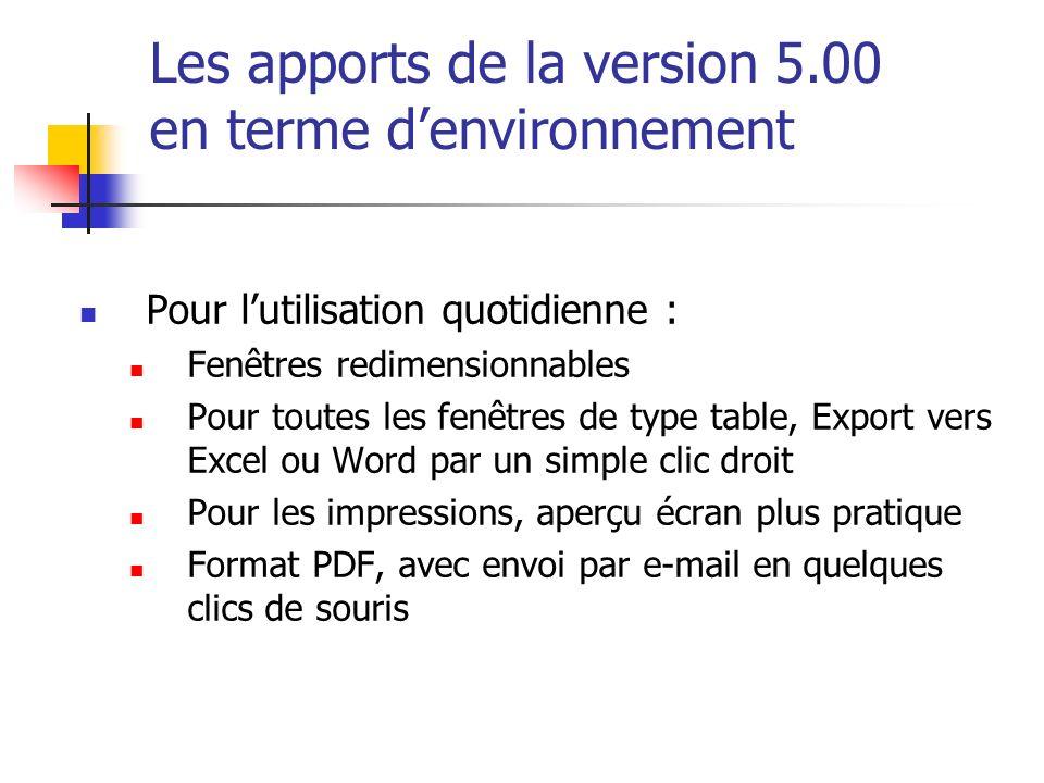 Les apports de la version 5.00 en terme denvironnement Pour lutilisation quotidienne : Fenêtres redimensionnables Pour toutes les fenêtres de type tab