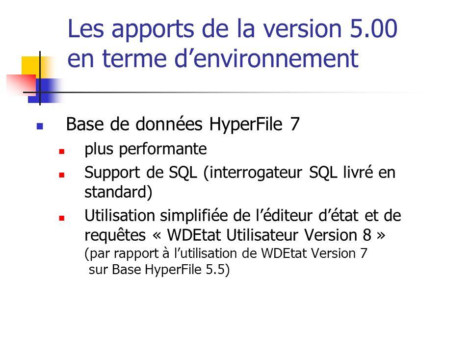 Les apports de la version 5.00 en terme denvironnement Base de données HyperFile 7 plus performante Support de SQL (interrogateur SQL livré en standar