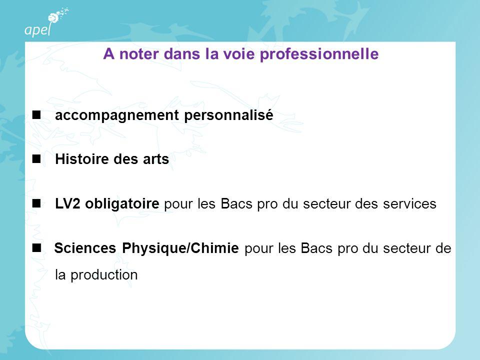accompagnement personnalisé Histoire des arts LV2 obligatoire pour les Bacs pro du secteur des services Sciences Physique/Chimie pour les Bacs pro du