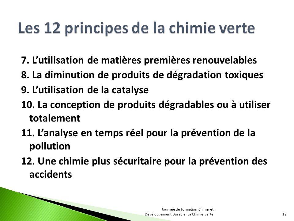 7. Lutilisation de matières premières renouvelables 8. La diminution de produits de dégradation toxiques 9. Lutilisation de la catalyse 10. La concept