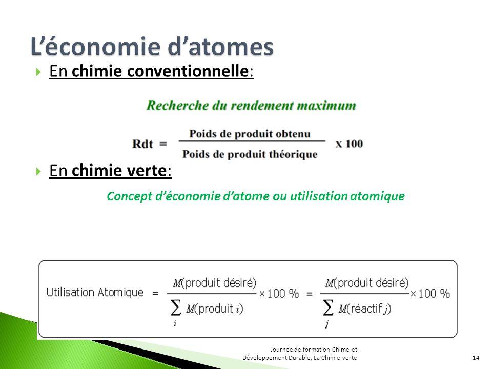 En chimie conventionnelle: En chimie verte: Concept déconomie datome ou utilisation atomique 14 Journée de formation Chime et Développement Durable, La Chimie verte