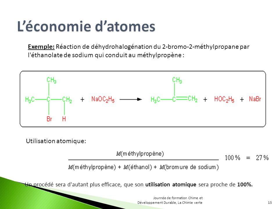 Exemple: Réaction de déhydrohalogénation du 2-bromo-2-méthylpropane par l éthanolate de sodium qui conduit au méthylpropène : Utilisation atomique: Un procédé sera d autant plus efficace, que son utilisation atomique sera proche de 100%.