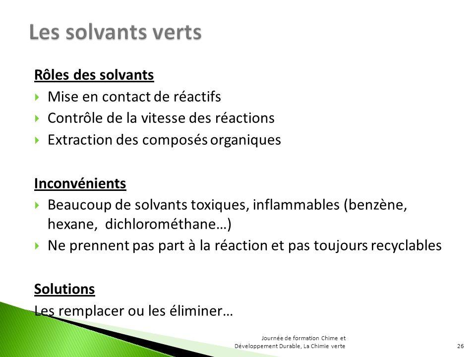 Rôles des solvants Mise en contact de réactifs Contrôle de la vitesse des réactions Extraction des composés organiques Inconvénients Beaucoup de solva