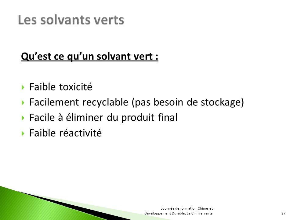 Quest ce quun solvant vert : Faible toxicité Facilement recyclable (pas besoin de stockage) Facile à éliminer du produit final Faible réactivité 27 Journée de formation Chime et Développement Durable, La Chimie verte