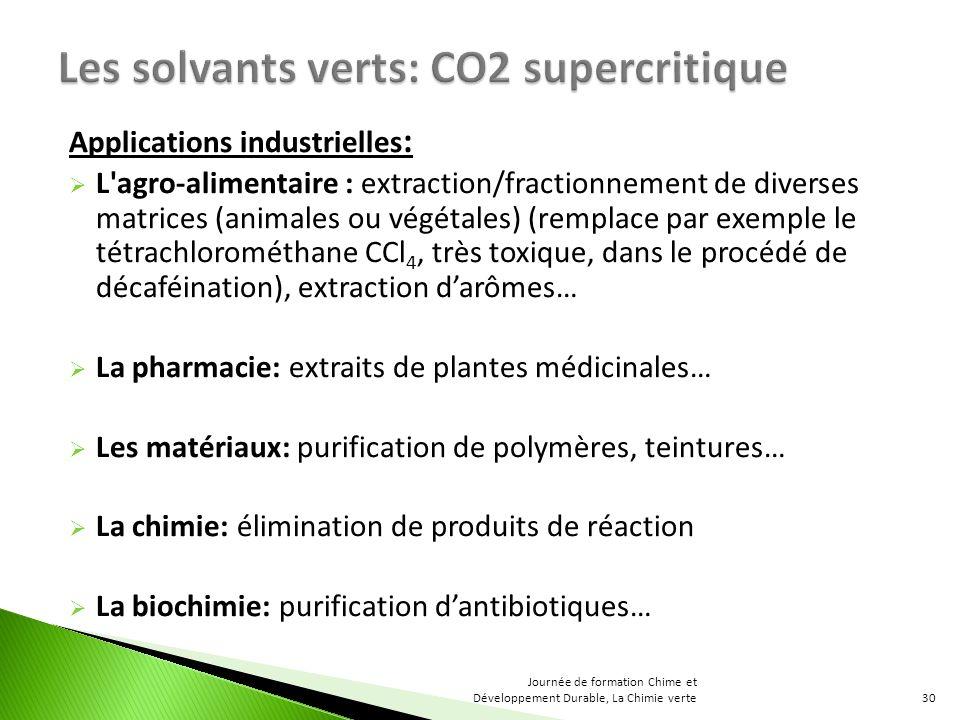 Applications industrielles : L'agro-alimentaire : extraction/fractionnement de diverses matrices (animales ou végétales) (remplace par exemple le tétr