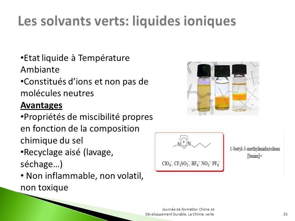 Etat liquide à Température Ambiante Constitués dions et non pas de molécules neutres Avantages Propriétés de miscibilité propres en fonction de la com