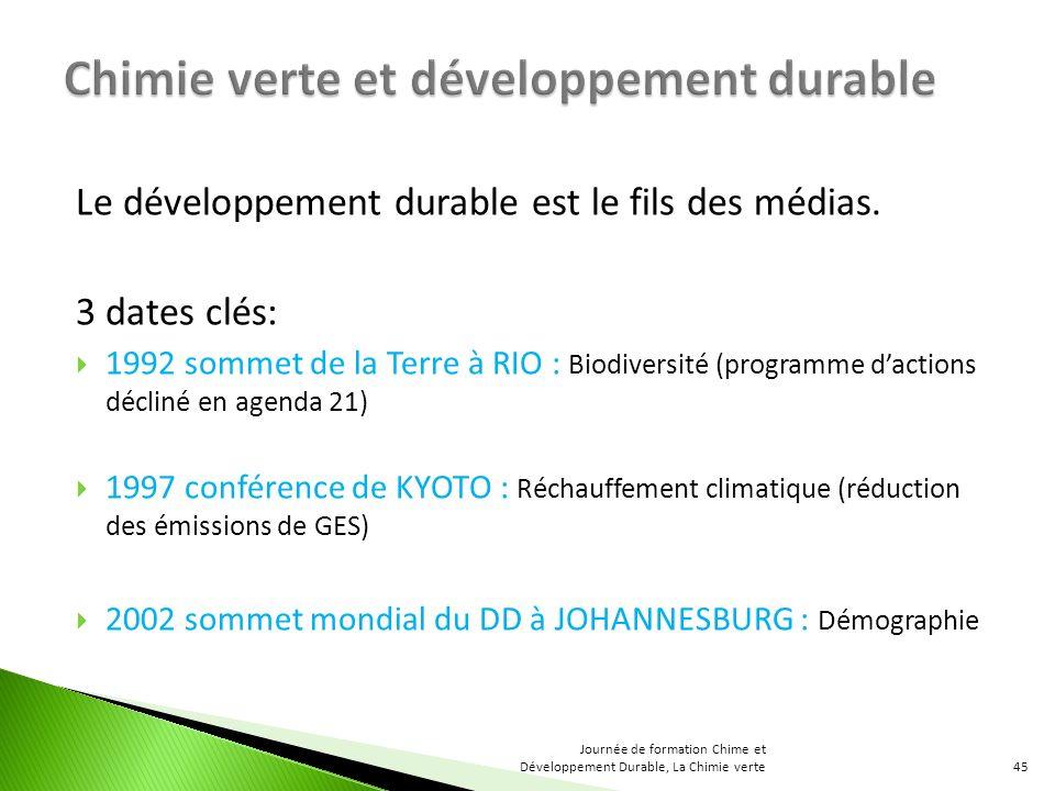Le développement durable est le fils des médias. 3 dates clés: 1992 sommet de la Terre à RIO : Biodiversité (programme dactions décliné en agenda 21)