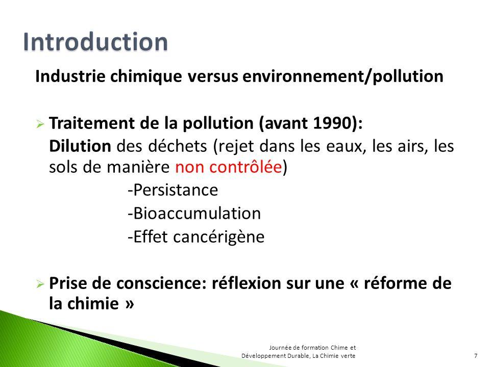 Industrie chimique versus environnement/pollution Traitement de la pollution (avant 1990): Dilution des déchets (rejet dans les eaux, les airs, les so