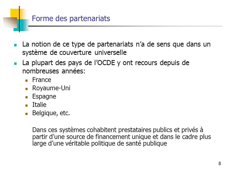 8 Forme des partenariats La notion de ce type de partenariats na de sens que dans un système de couverture universelle La plupart des pays de lOCDE y ont recours depuis de nombreuses années: France Royaume-Uni Espagne Italie Belgique, etc.