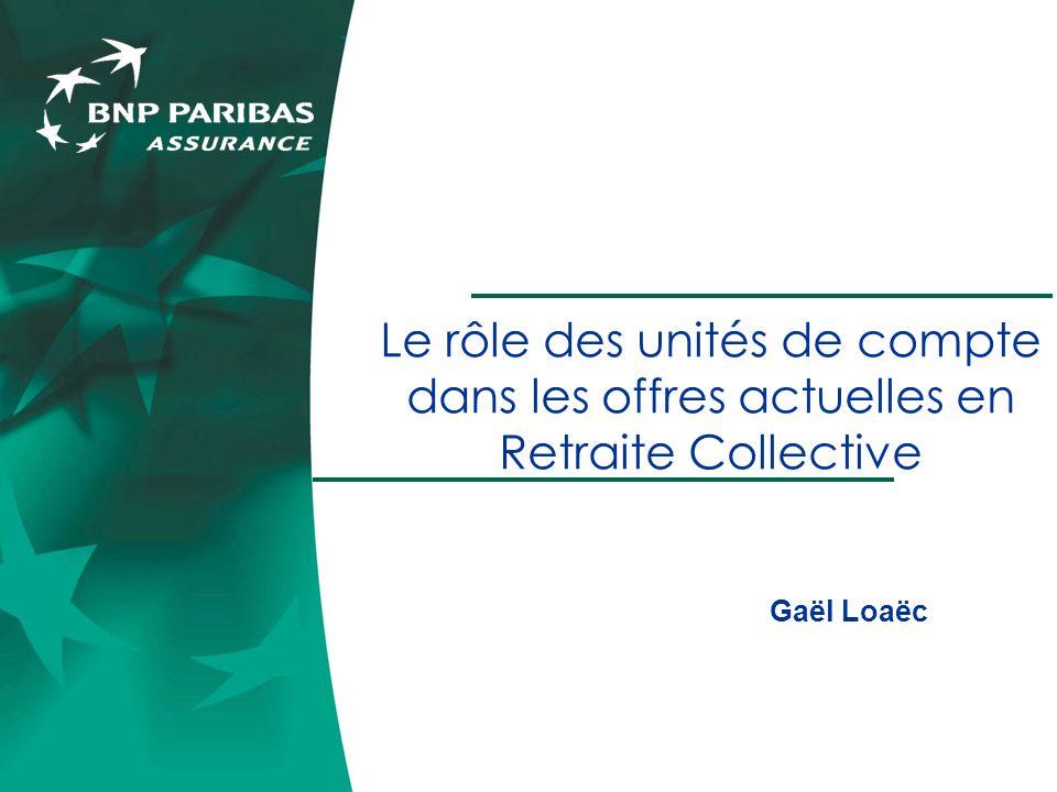 Le rôle des unités de compte dans les offres actuelles en Retraite Collective Gaël Loaëc