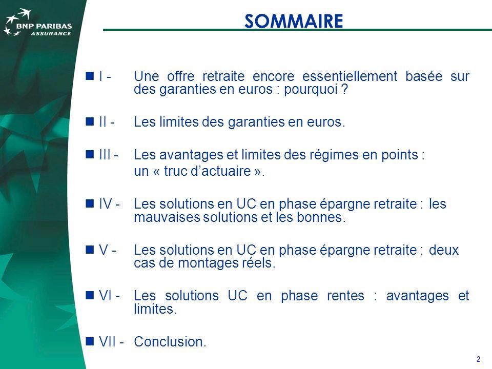 2 SOMMAIRE I - Une offre retraite encore essentiellement basée sur des garanties en euros : pourquoi .