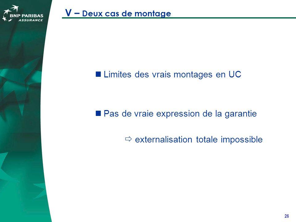 26 V – Deux cas de montage Limites des vrais montages en UC Pas de vraie expression de la garantie externalisation totale impossible