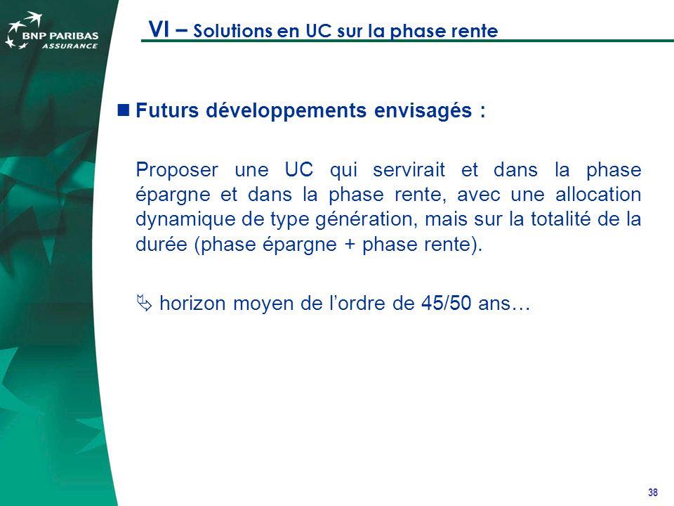 38 VI – Solutions en UC sur la phase rente Futurs développements envisagés : Proposer une UC qui servirait et dans la phase épargne et dans la phase rente, avec une allocation dynamique de type génération, mais sur la totalité de la durée (phase épargne + phase rente).