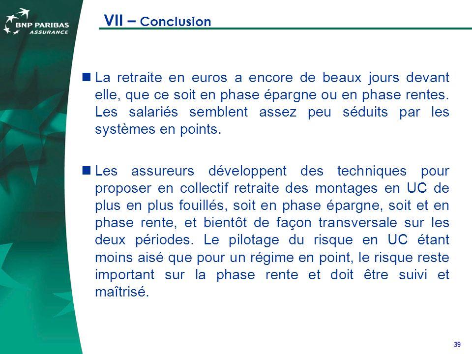 39 VII – Conclusion La retraite en euros a encore de beaux jours devant elle, que ce soit en phase épargne ou en phase rentes.