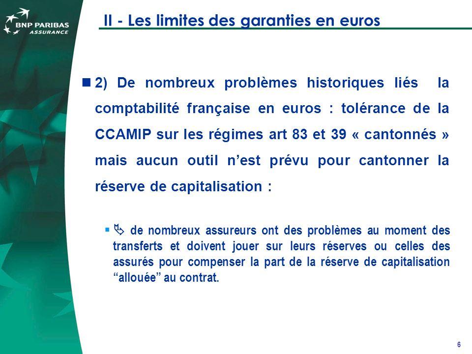 7 II - Les limites des garanties en euros 3) Un poids croissant des normes comptables internationales IFRS, qui ne rend pas toujours facile à comprendre pour les entreprises internationales la subtilité franco-française actif/passif des assureurs en euros (historique prix de revient/PM en euros).