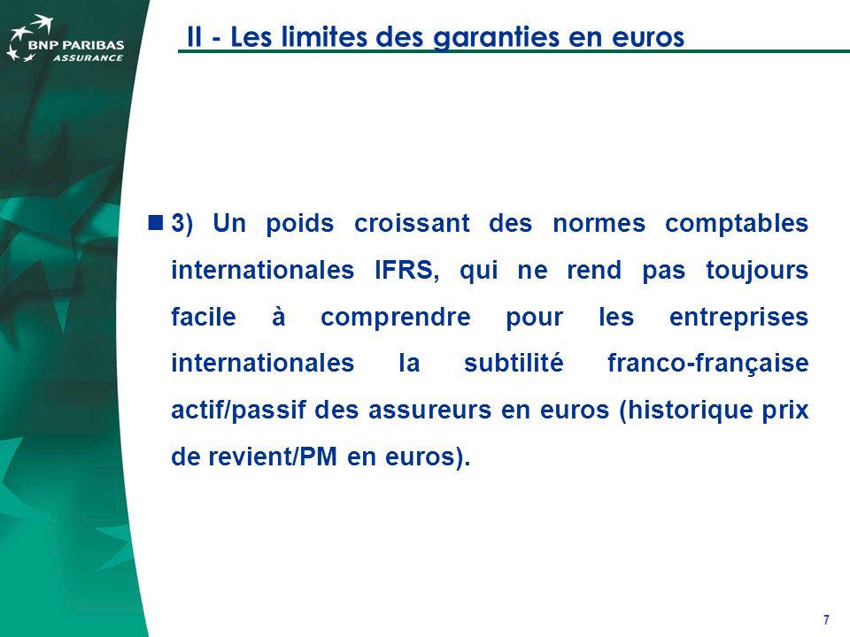 8 II - Les limites des garanties en euros 4) La baisse des rendements des fonds généraux