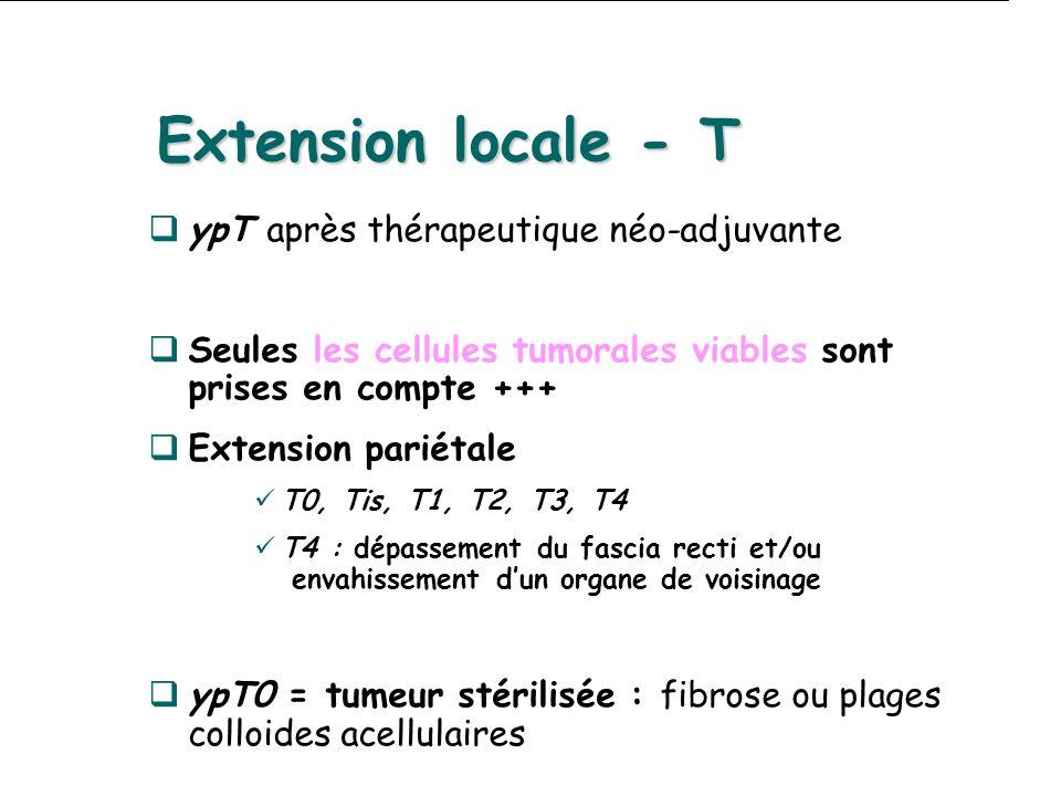 Extension locale - T ypT après thérapeutique néo-adjuvante Seules les cellules tumorales viables sont prises en compte +++ Extension pariétale T0, Tis, T1, T2, T3, T4 T4 : dépassement du fascia recti et/ou envahissement dun organe de voisinage ypT0 = tumeur stérilisée : fibrose ou plages colloides acellulaires