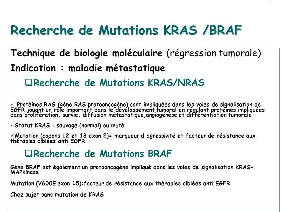 Recherche de Mutations KRAS /BRAF Technique de biologie moléculaire (régression tumorale) Indication : maladie métastatique Recherche de Mutations KRAS/NRAS desprotéMLH1,MSH2,MSH6,PMS2 Protéines RAS (gène RAS protooncogène) sont impliquées dans les voies de signalisation de EGFR jouant un rôle important dans le développement tumoral en régulant protéines impliquées dans prolifération, survie, diffusion métastatique,angiogénèse et différentiation tumorale Statut KRAS : sauvage (normal) ou muté Mutation (codons 12 et 13 exon 2)= marqueur d agressivité et facteur de résistance aux thérapies ciblées anti EGFR Recherche de Mutations BRAF Gène BRAF est également un protooncogène impliqué dans les voies de signalisation KRAS- MAPkinase Mutation (V600E exon 15):facteur de résistance aux thérapies ciblées anti EGFR Chez sujet sans mutation de KRAS