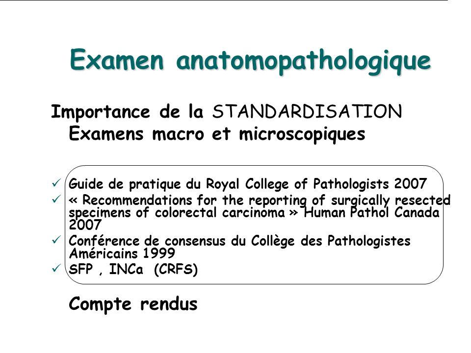 Examen anatomopathologique Importance de la STANDARDISATION Examens macro et microscopiques Guide de pratique du Royal College of Pathologists 2007 «