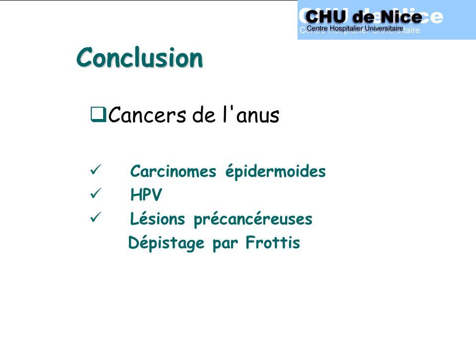 Conclusion Cancers de l anus Carcinomes épidermoides HPV Lésions précancéreuses Dépistage par Frottis