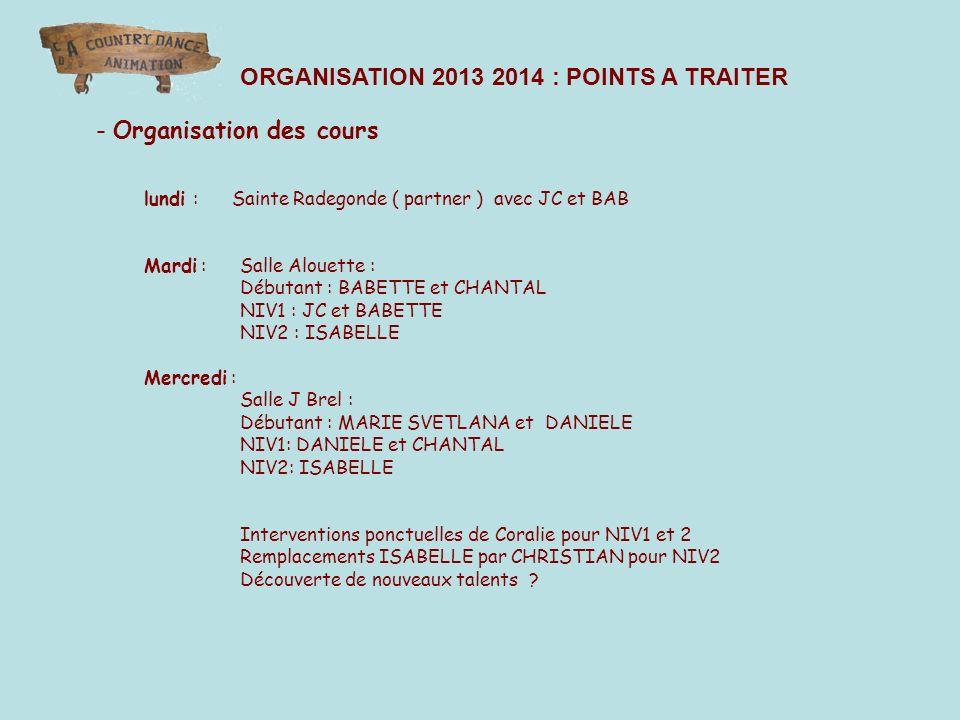 - Organisation des cours lundi : Sainte Radegonde ( partner ) avec JC et BAB Mardi : Salle Alouette : Débutant : BABETTE et CHANTAL NIV1 : JC et BABET