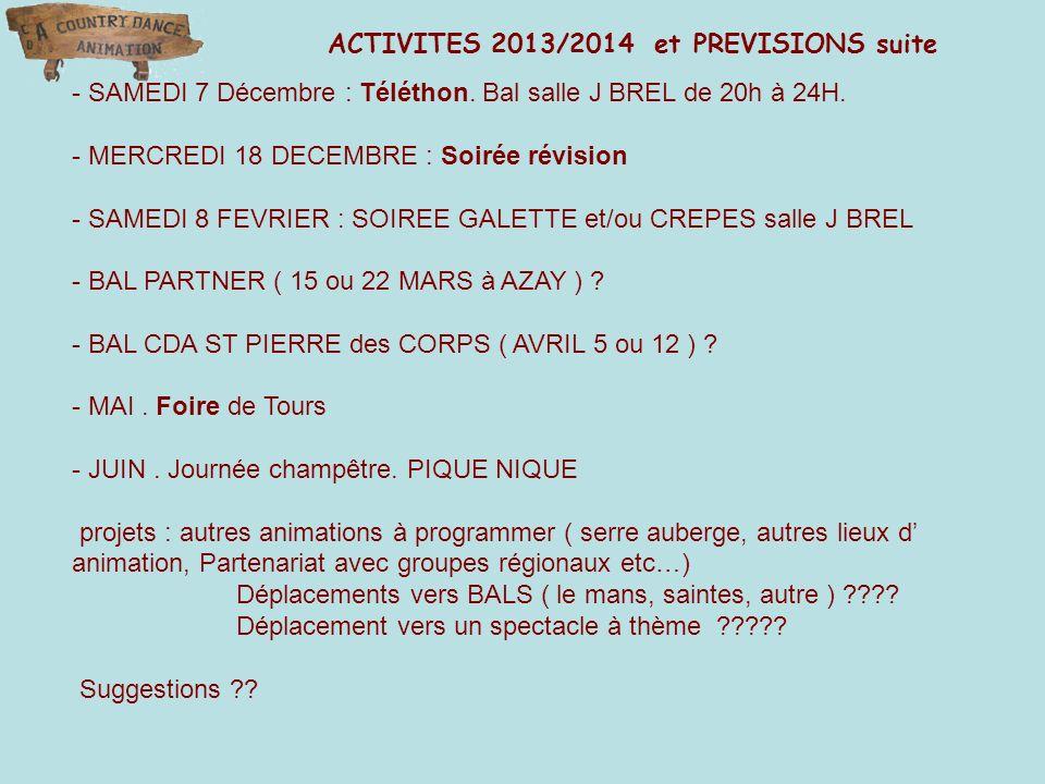 ACTIVITES 2013/2014 et PREVISIONS suite - SAMEDI 7 Décembre : Téléthon. Bal salle J BREL de 20h à 24H. - MERCREDI 18 DECEMBRE : Soirée révision - SAME