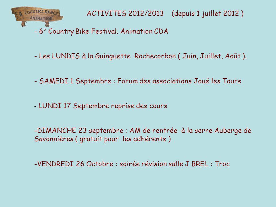 ACTIVITES 2012/2013 (depuis 1 juillet 2012 ) - 6° Country Bike Festival. Animation CDA - Les LUNDIS à la Guinguette Rochecorbon ( Juin, Juillet, Août