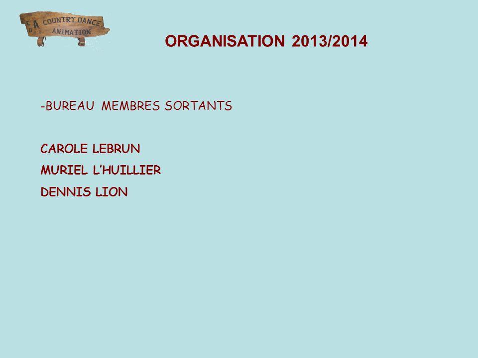 -BUREAU MEMBRES SORTANTS CAROLE LEBRUN MURIEL LHUILLIER DENNIS LION ORGANISATION 2013/2014