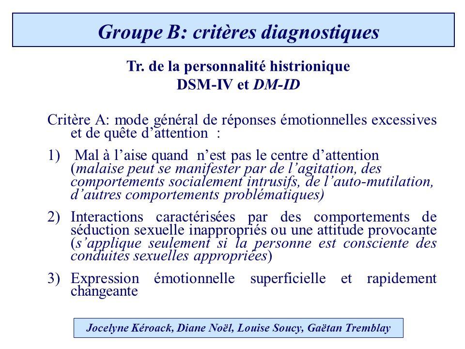Jocelyne Kéroack, Diane Noël, Louise Soucy, Gaëtan Tremblay Groupe B: critères diagnostiques Tr.