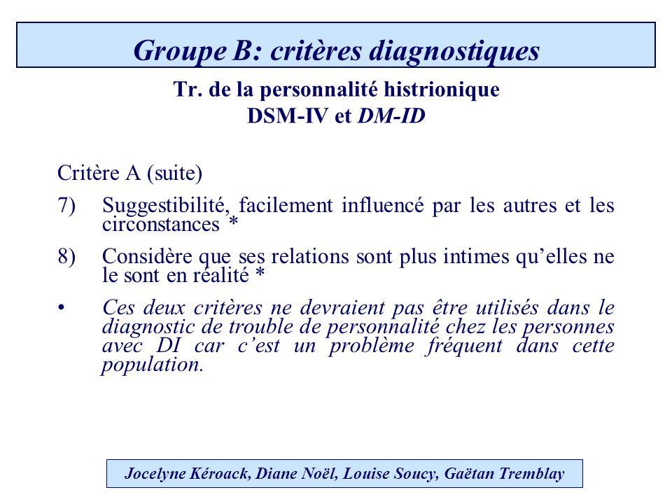 Tr. de la personnalité histrionique DSM-IV et DM-ID Critère A (suite) 7)Suggestibilité, facilement influencé par les autres et les circonstances * 8)C