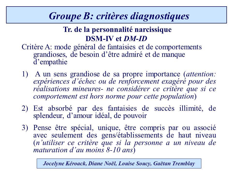 Groupe B: critères diagnostiques Tr.