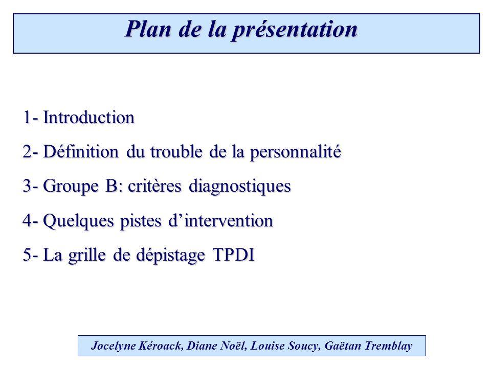 Structure de la grille 4 sections : Antisocial - Limite - Histrionique - Narcissique 9 items par section Jocelyne Kéroack, Diane Noël, Louise Soucy, Gaëtan Tremblay 5.