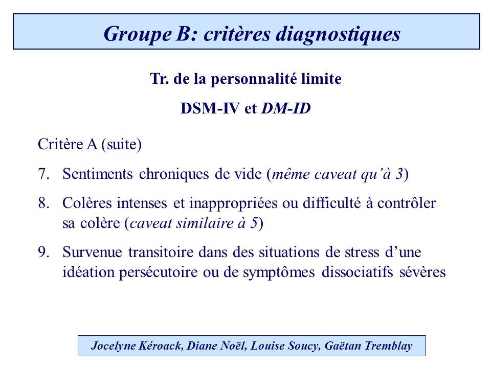 Jocelyne Kéroack, Diane Noël, Louise Soucy, Gaëtan Tremblay Groupe B: critères diagnostiques Critère A (suite) 7.Sentiments chroniques de vide (même caveat quà 3) 8.Colères intenses et inappropriées ou difficulté à contrôler sa colère (caveat similaire à 5) 9.Survenue transitoire dans des situations de stress dune idéation persécutoire ou de symptômes dissociatifs sévères Tr.