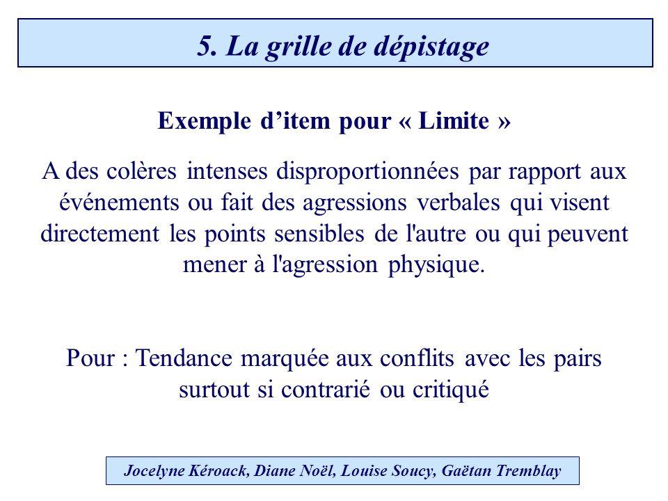 Exemple ditem pour « Limite » A des colères intenses disproportionnées par rapport aux événements ou fait des agressions verbales qui visent directement les points sensibles de l autre ou qui peuvent mener à l agression physique.