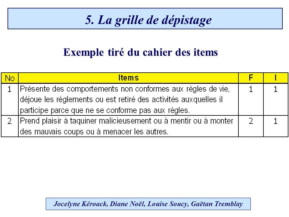 Exemple tiré du cahier des items Jocelyne Kéroack, Diane Noël, Louise Soucy, Gaëtan Tremblay 5.