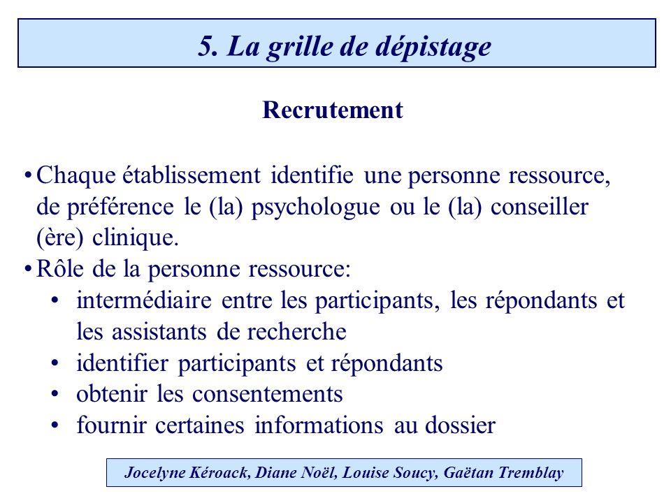 Recrutement Chaque établissement identifie une personne ressource, de préférence le (la) psychologue ou le (la) conseiller (ère) clinique.